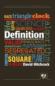 Definition book cover with word cloud. Windsor studies in argumentation owl of minerva logo.